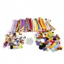 SODERTEX Pack 300 pompons + 200 pompons tricolores + 300 chenilles + 100 yeux mobiles, tailles assorties