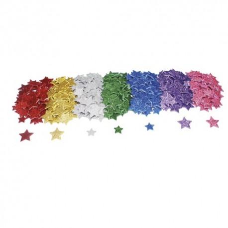 SODERTEX Pack de 500 Etoiles en mousse EVA pailletée adhésive 7 coloris - 4 Tailles 20 à 30 mm, épais 2mm