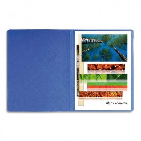 Chemise à lamelles Exacompta compresseur capacité 350 feuilles perforées carte lustrée coloris bleu
