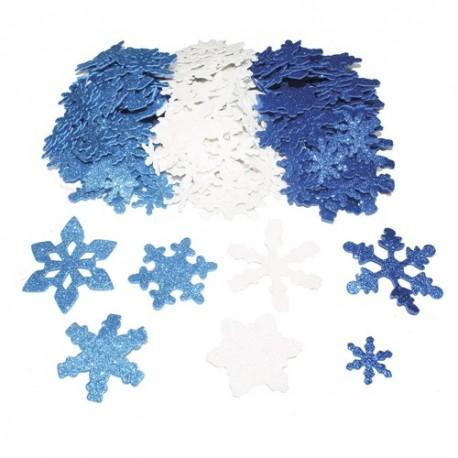 SODERTEX Pack de 240 Flocons de neige en mouse EVA pailletée 3 Assortis, 3 tailles D2,5/5/6 cm, épais 2mm