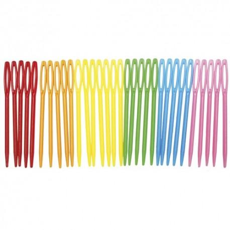SODERTEX Sachet de 32 aiguilles en plastique coloris Assortis - L7 x D0,1 cm