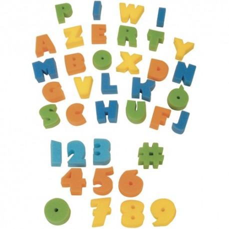 GRAINE CREATIVE Lot de 37 Eponges tampons : 26 alphabet + 11 chiffres, pour peinture à l'eau ou gouache