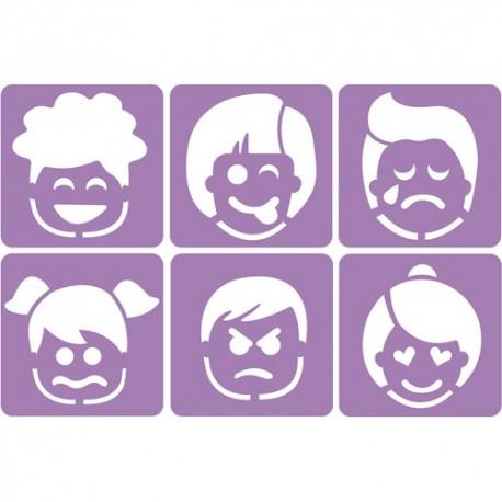 SODERTEX Pack de 6 Pochoirs Les émotions Assortis en plastique - L14 x H14 cm, épaisseur 5 mm