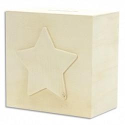 GRAINE CREATIVE Tirelire étoile en bois 10 x 10 x 6cm, à décorer : peinture, collage, mosaique, gluepatch