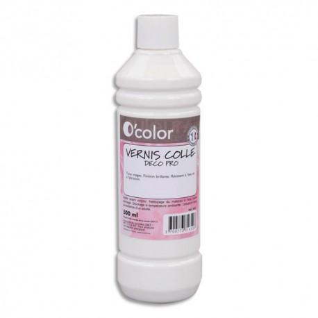 O COLOR Flacon de 500 ml de Vernis colle Blanc Deco Pro, sans acide ni solvant, tous types papier décors
