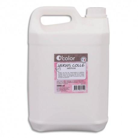 O COLOR Bidon de 5 Litres de Vernis colle Blanc, s'incorpore à tous types de couleurs, diluable à l'eau