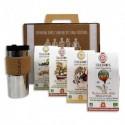 TERRAMOKA Coffret de 4 étuis de 15 capsules de Café bio, biodégradables + 1 travel Mug