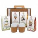 TERRAMOKA Coffret de 4 étuis de 15 capsules de Café bio, biodégradables + 2 Mugs porcelaine et liège 17cl