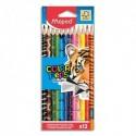 MAPED Pochette 12 crayons de couleur décorés ANIMALS COLORPEP'S assortis