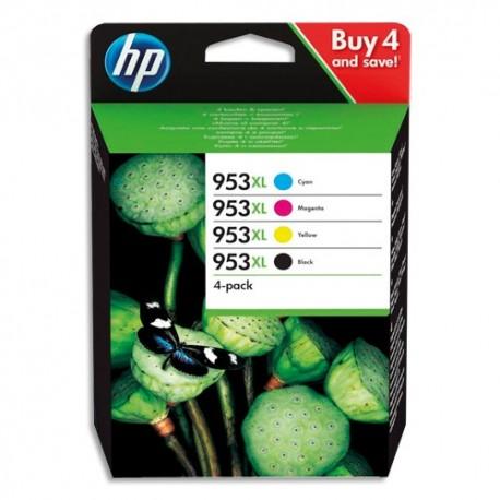 HP Pack 4 couleurs Jet d'encre 953XL Cyan Magenta Jaune Noir 3HZ52AE