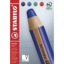 STABILO Etui carton 4 crayons multi-talents STABILO woody 3in1 - noir,bleu,rouge,vert