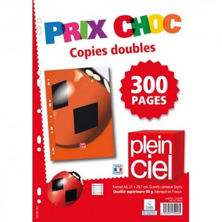 PLEIN CIEL Lot de 200 pages copies doubles format A4 grands carreaux Séyès 90g perforées.