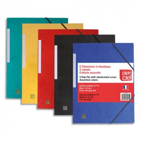 PLEIN CIEL Lot 5 chemises 3 rabats élastique.Carte lustrée 5/10e 390g.Assortis bleu/rouge/vert/jaune/noir