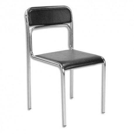 Chaise de conférence Ascona en simili cuir noire, structure en acier epoxy chromé. Empilable