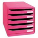 Module de classement Exacompta - Classement 5 tiroirs Big Box Plus rose 34,7x27,8x27,1 cm