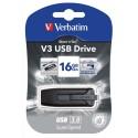 Clé USB 16Go 3.0 Store 'n' Go V3 1 coloris Noir/Gris + redevance Verbatim