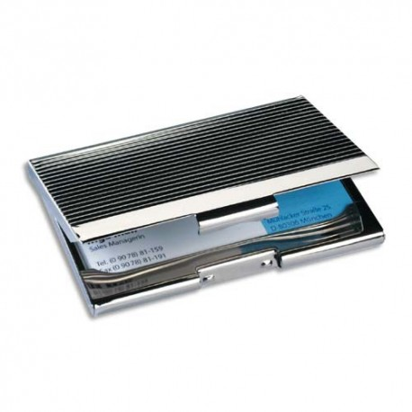 SIGEL Etui à cartes de visite chrome brillant, capacité 20 cartes - L200 x H130 x P9 cm argent, brillant