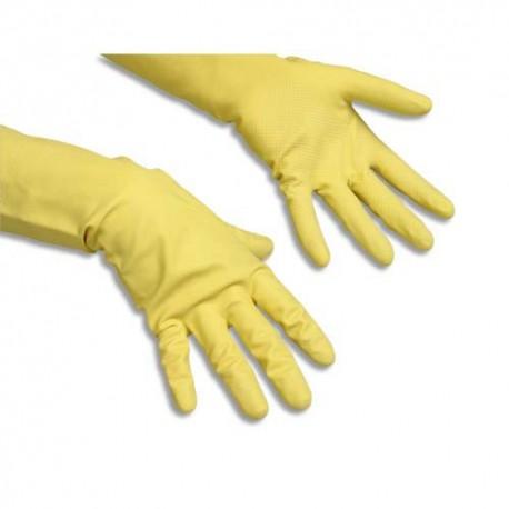 VILEDA Paire de Gants en latex 100% naturel, Taille M coloris jaune