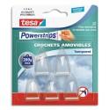 TESA Boîte de 5 crochets Powerstrips transparent Déco + 8 languettes large, supporte jusqu'à 200gr