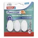 TESA Boîte de 3 crochets Powerstrips ovales blancs repositionnables + 4 languettes Powerstrips small