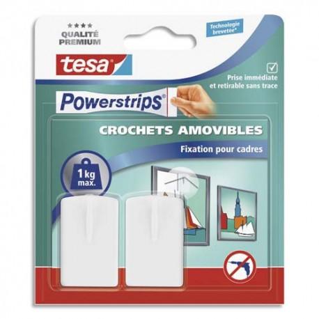 TESA Boîte de 2 crochets Powerstrips pour fixer cadres, tableaux blancs + 2 languettes larges