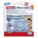 TESA Boîte fr 2 crochets Powerstrips transparent déco + 4 languettes large, supporte jusqu'à 1Kg