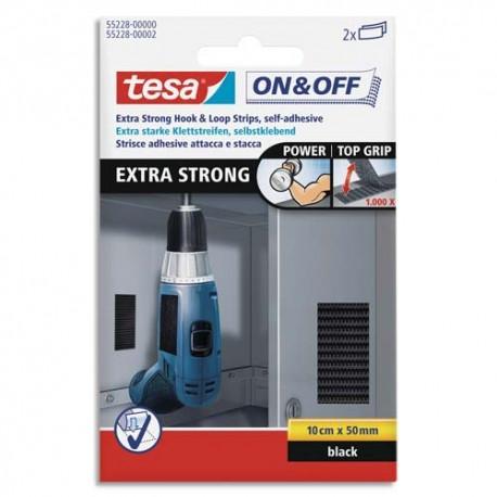 TESA Boîte de 2 bandelettes ON&OFF système scratch autoagripant extra forts à coller, 0,1m x 50mm noir