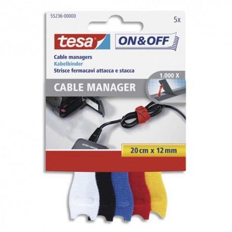 TESA Boîte de 5 ON&OFF Spécial range cable, 0,2m x 12mm, 5 couleurs