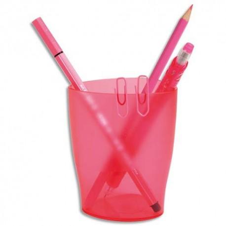 EXACOMPTA Pot à crayons ECO rose translucide - Dimensions : L8 x H9,5 x P6 cm