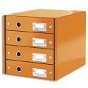 LEITZ Module de classement 4 tiroirs WOW en carton recouvert de polypropylène. Coloris orange.