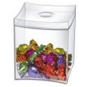 TAKE A BREAK Boîte à bonbons couvercle amovible, capacité 0,6 litre - Dim. L9 x H10,4 x P9 cm transparent