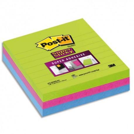 POST-IT Lot 3 blocs de70f Sticky ligné 10x10cm. Coloris néon citronvert,fuschia,turquoise BP333 675-3SSMX