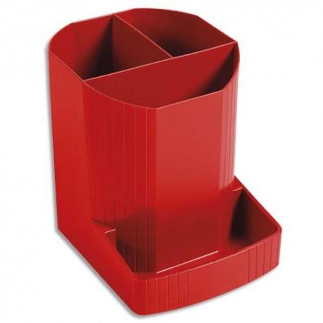 EXACOMPTA Pot à crayons 100% DECO rouge carmin - Dimensions : H 12,3 x P 9 cm