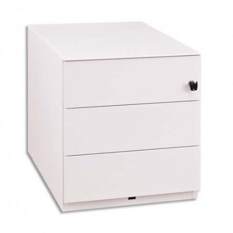 GAUTIER Caisson mobile métal laqué blanc, 2 tiroirs 1 plumier 5 roulettes SUNDAY 45x50x57cm