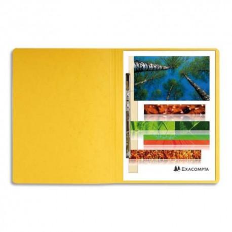 Chemise à lamelles Exacompta compresseur capacité 350 feuilles perforées carte lustrée coloris jaune