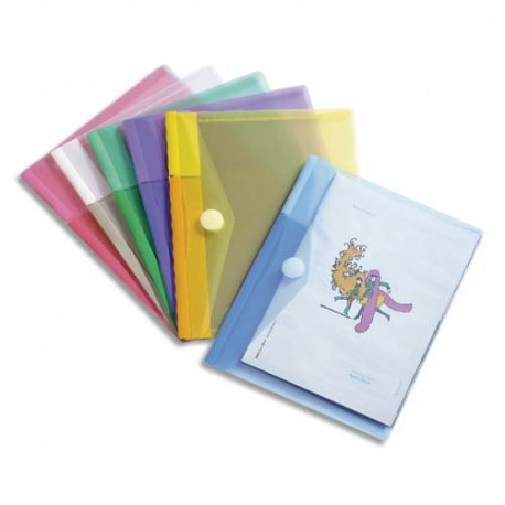 TARIFOLD Sachet de 6 porte documents à Velcro A5 TCollection en PP 20/100e coloris assortis