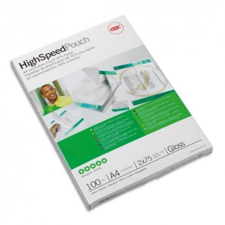 Plastification A4 - Boîte de 100 pochettes à plastifier brillantes Hi-Speed 100 microns par face soit 200 microns GBC 3747525
