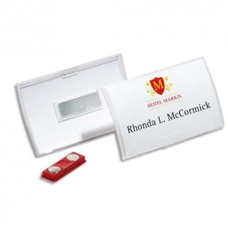 DURABLE Boite de 10 badges à aimant Clickfold 4x7,5 cm