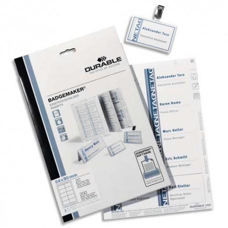 DURABLE boite planches d'impression A4 pour 240 badges 40 x 75mm