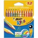 Crayon de couleur Bic TROPICOLOR2 (version sans bois). étui de 12 ou 24 coloris assortis