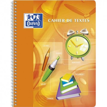 Cahier 17x22 148 pages grands carreaux de texte spirale Couverture polypropylène Oxford