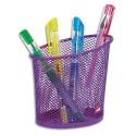 Pot à crayons ALBA en métal Mesh - Diamètre 6, hauteur 10,5 cm coloris violet