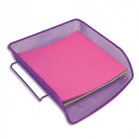 Corbeille à courrier ALBA - Corbeile en métal Mesh - Dimensions : L27 x H6,5 x P34 cm coloris violet