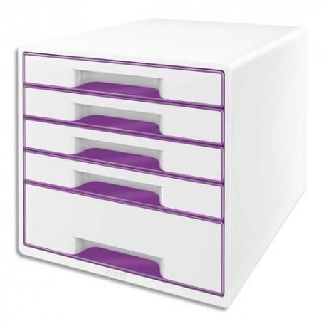 LEITZ Bloc de classement WOW 5 tiroirs, blanc laqué tiroirs Violet - Dim. L28,7 x H27 x P36,3 cm