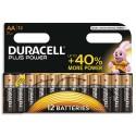 DURACELL Blister de 12 piles Alcalines 1,5V AA LR06 ouverture D-click Plus Power Duralock