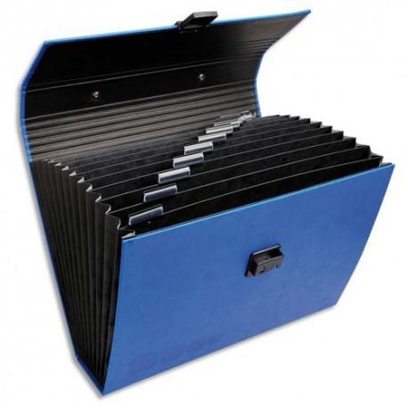 EXACOMPTA Valisette trieur OFFISSIMO, en simili cuir, 12 compartiments, 35x29,5x8cm, coloris bleu