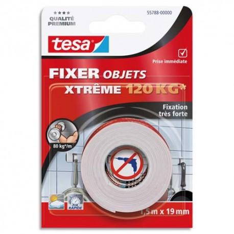 Ruban adhésif double face Tesa ultra fort format 1,5mx19mm pour fixer en intérieur et extérieur jusqu'à 120kg.