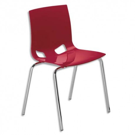 Chaise Swity en polypropylène aspect Glossy rouge, 4 pieds tube époxy aluminium D2 cm. Empilable