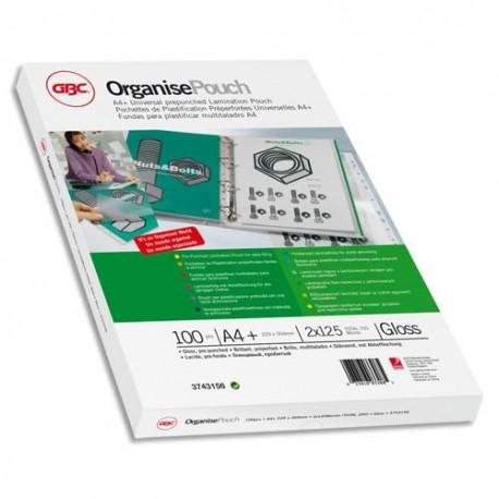 Plastification A4 - Boîte de 100 pochettes à plastifier pré-perforées 125 microns par face soit 250 microns GBC 3743156