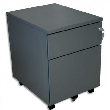 VINCO Caisson mobile 2 tiroirs dont 1 pour dossiers suspendus L41,7 x H56,5 x P54,1 cm anthracite